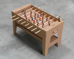 foosball table made entirely out of cardboard by kickpack