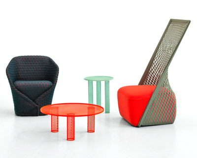 benjamin hubert: cradle chair + net tables for moroso